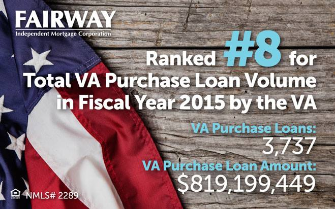 White texts that says ranked #8 for total VA purchase loan volume in fiscal year 2015 by the VA over a wooden background with the American flag on the side