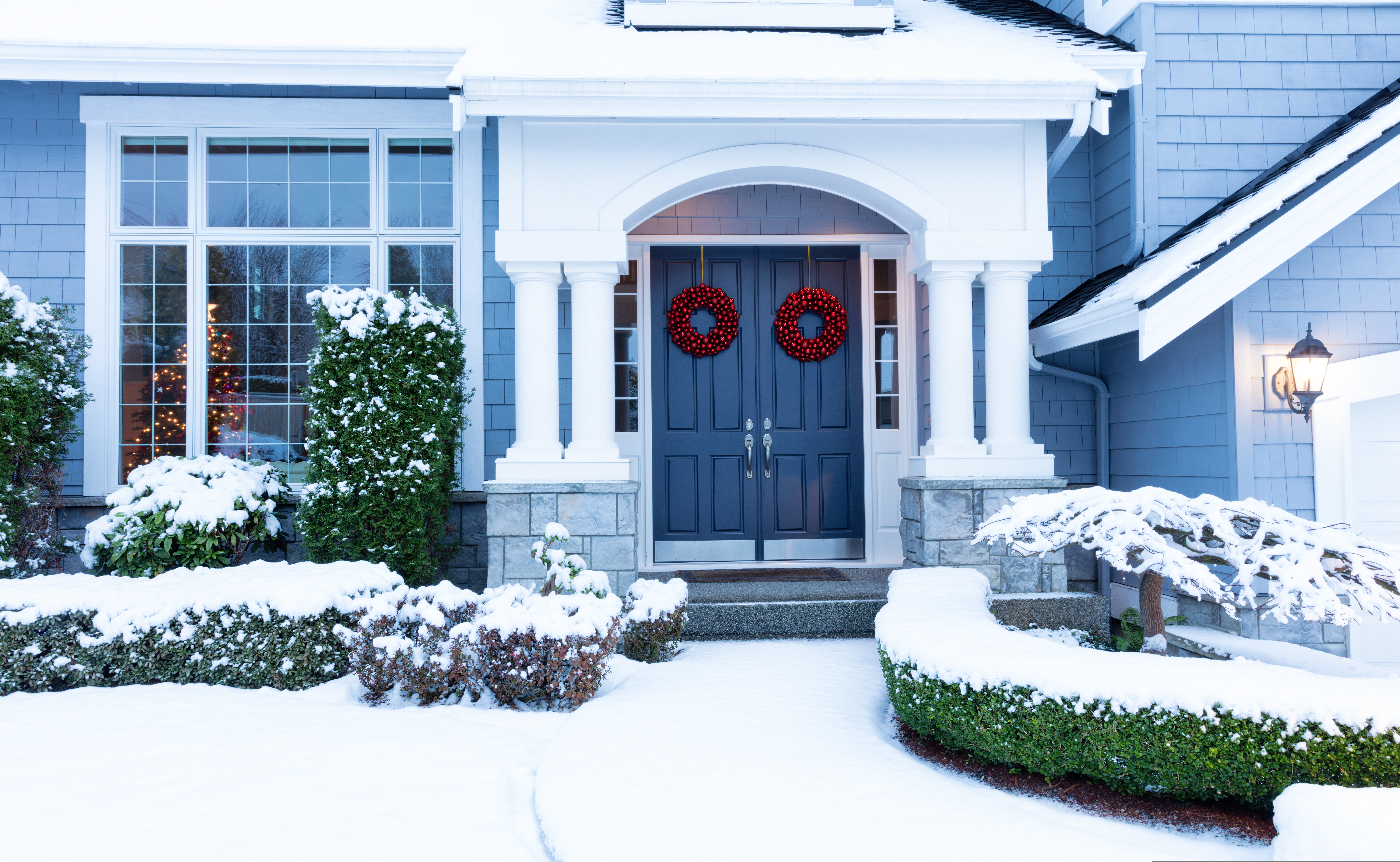 Walkway To A Fresh Blanket Of Snow on a Residential Home